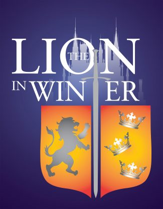 The Lion in Winter show art. A shield, sword, and castle.