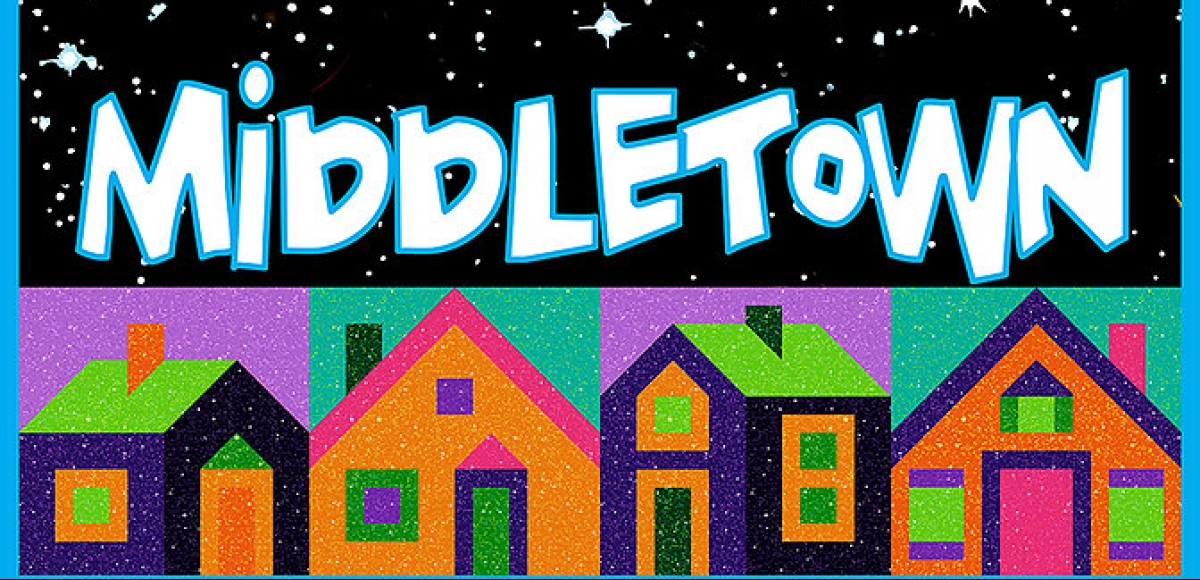 The top half of the graphic is a starry night sky with two planets. The bottom contains small colorful houses. The border of the entire picture is light blue.