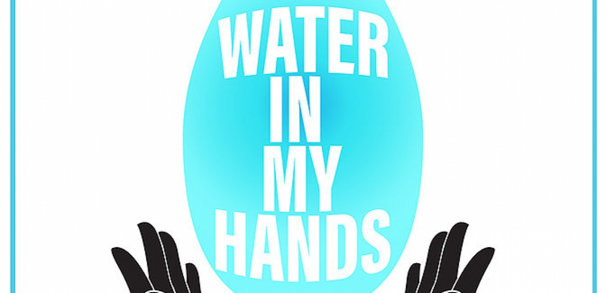 Graphic of a large water drop with open black hands at the base of it