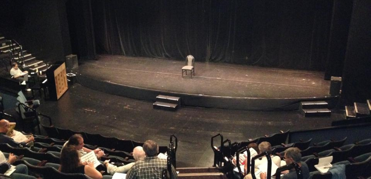 Empty stage awaiting the next artist during New Jersey Theatre Alliance's Combined Auditions.