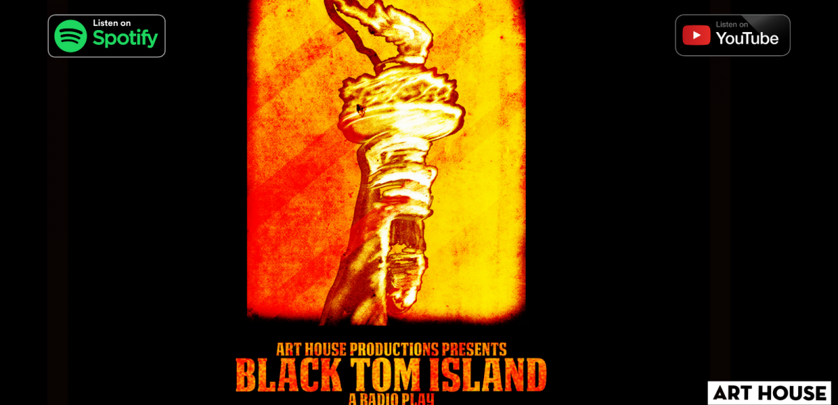 "Statue of Liberty's torch colored with red, orange and gold with a small chink. Logos for ""Listen on Spotify"" and ""Listen on YouTube"""