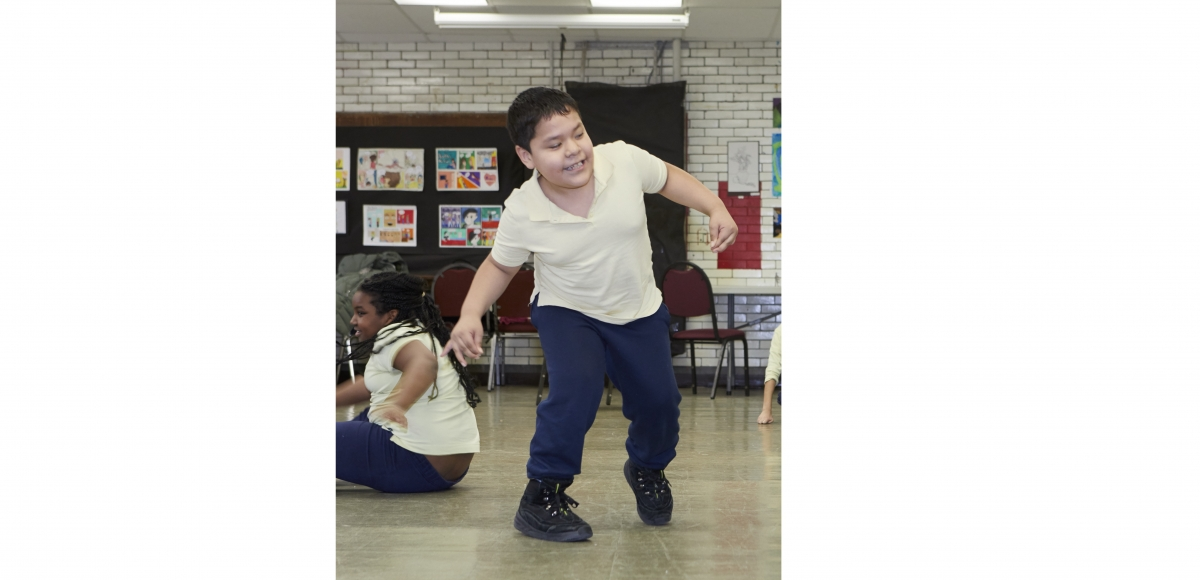 Jesus, a student at PS#5 in Jersey City, participating in the Dance to Learn program at Nimbus Dance Works, which will receive the Innovator Award at the Cultural Accessibility Awards on June 22.   Photo by Megan Maloy.