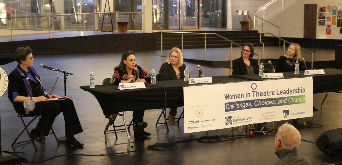 Emily Mann answers a question from the moderator while Bonnie Monte, C. Ryanne Domingues, and Ari Laura Kreith listen