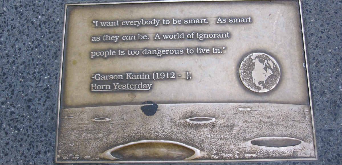 Garson Kanin plaque on Library Way in NYC