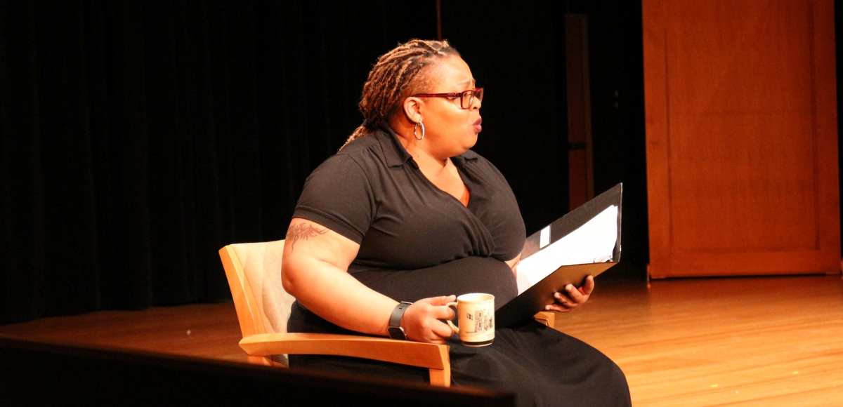 A performer in Healing Voices: Caregivers Stories Onstage