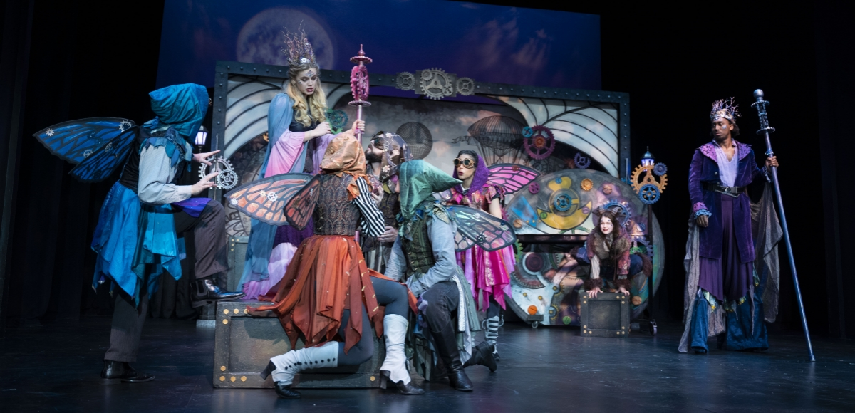 Titania speaks to her fairies as Oberon and Puck look on in The Shakespeare Theatre of New Jersey's Shakespeare LIVE! touring production of A MIDSUMMER NIGHT'S DREAM directed by Brian B. Crowe.  Photo©Avery Brunkus.