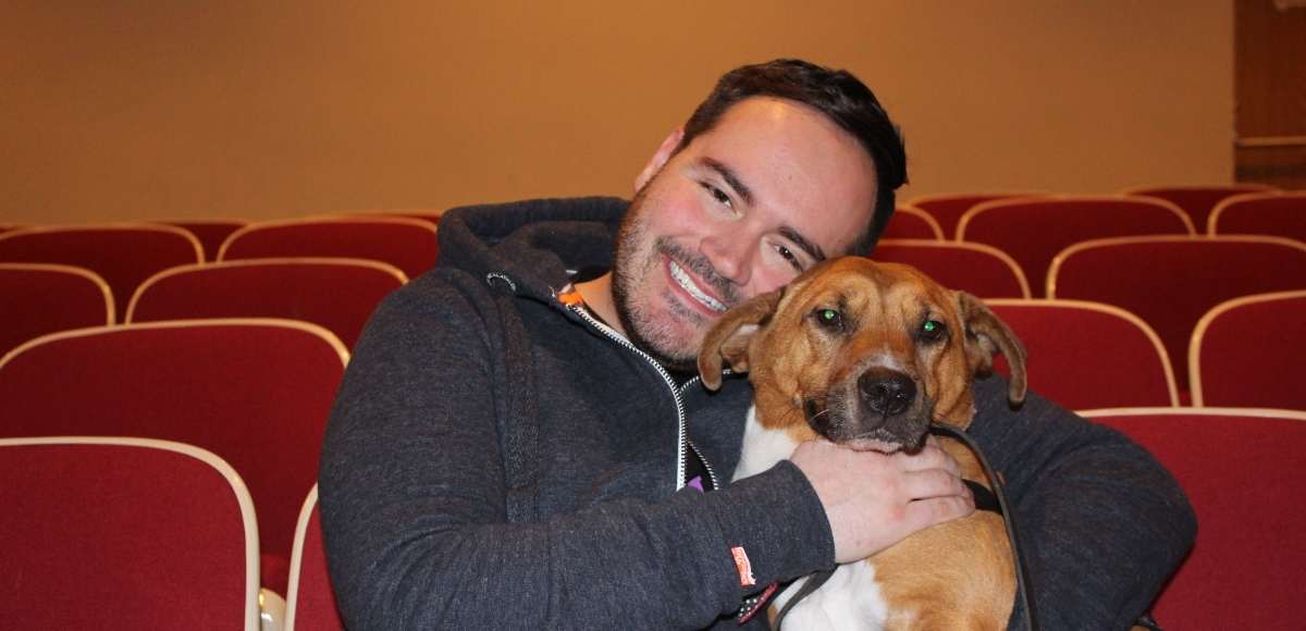Therapy dog Madagan with Producing Artistic Director Michael Maguire of the Morristown High School Theatre Department, winner of the 2018 Innovator Award.