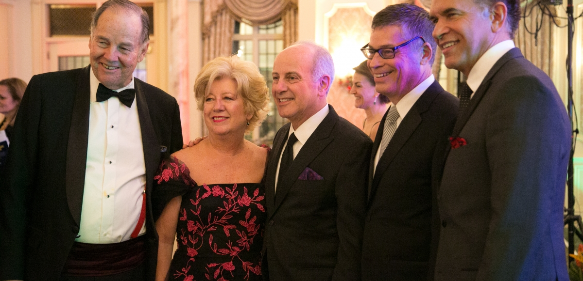 Gov. Tom Kean, Trustee Carol Herbert, honoree Joseph P. Benincasa, Executive Director John McEwen, and Tony-winner Brian Stokes Mitchell at the 35th anniversary Ovation Gala, 2016. Photo by Jerry Dalia.