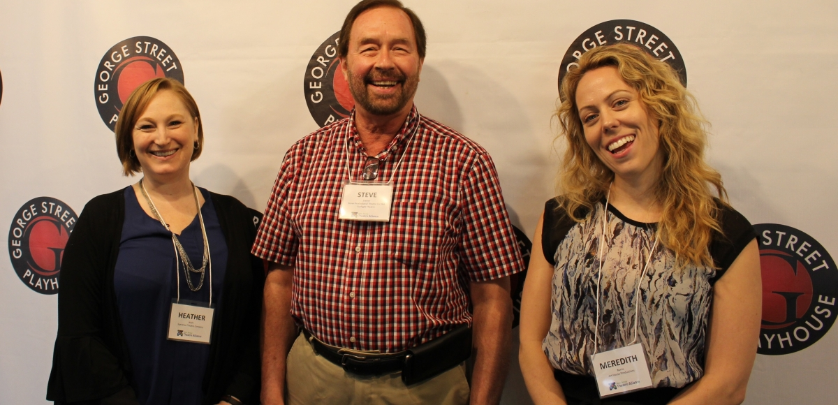 From left: Heather Wahl of Speranza Theatre, Steve Steiner of Surflight Theatre, and Meredith Burns of Art House Productions.