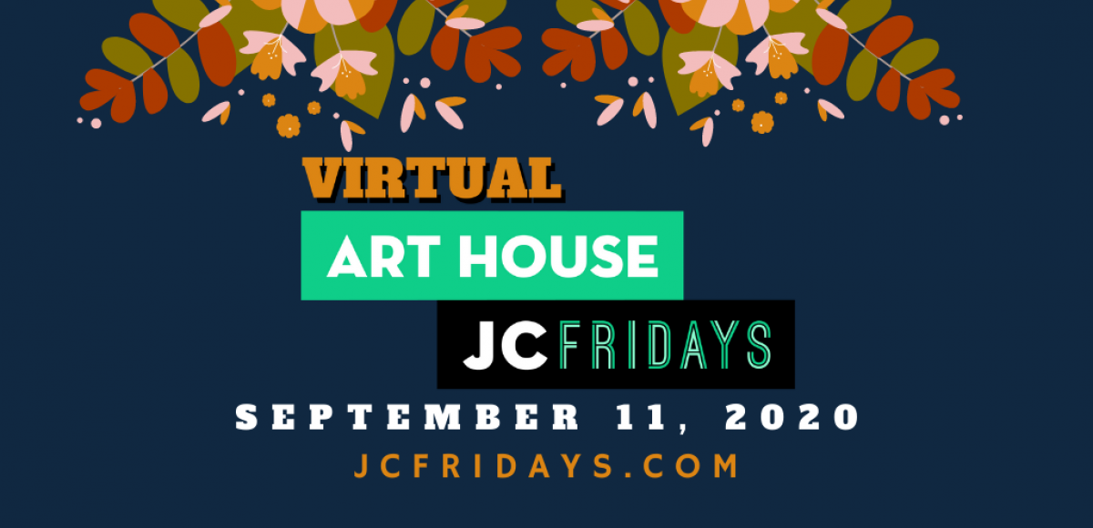Virtual JC Fridays Art House, September 11, Navy blue background with fall leaves at the top