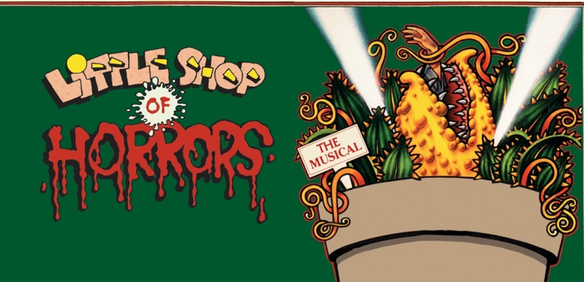 Little Shop of Horrors, horrors is written in red and appears to be dripping with blood