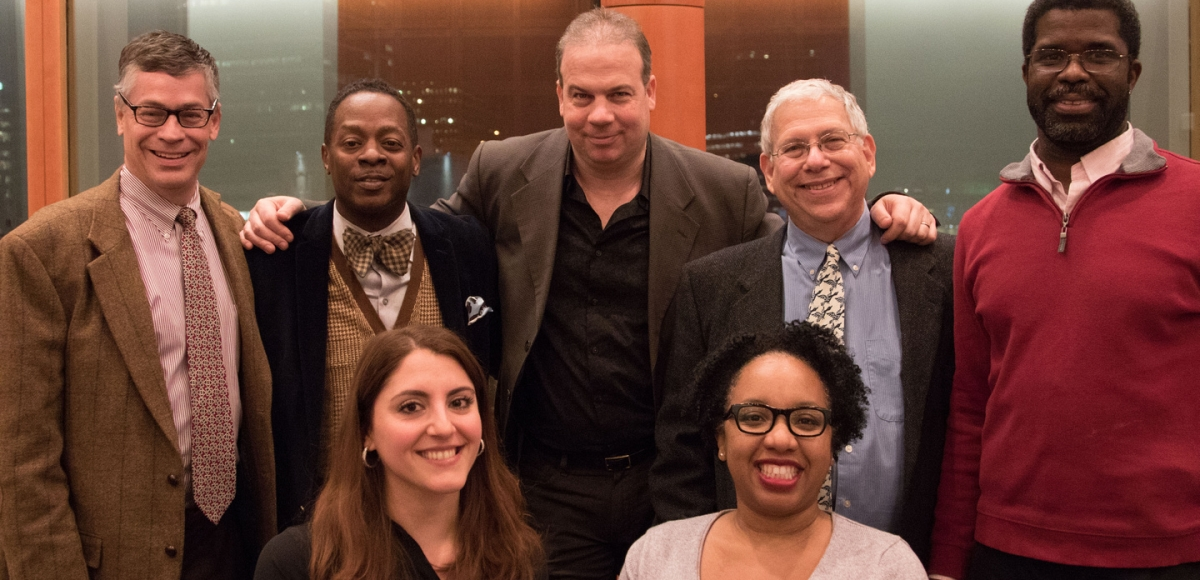 John McEwen, Rodney Gilbert, John Wooten, Joel Stone, Marshall Jones III, Nicole Pandolfo, and Pia Wilson at 2017 Stage Exchange Kick-Off Reading at NJPAC. Photo by Lianne Schoenweisner.
