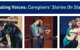 Healing Voices: Caregivers' Stories On Stage: photos of boy with emotional support dog, man having heartrate taken by male nurse, female nurse hugging a young patient