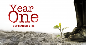 Title Image for Year One, a play by Erik Gernand. A pair of black boots stand next to a green, sprouting seedling