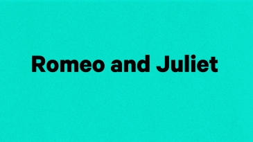 "show title ""Romeo and Juliet"" in black text on a blue background"