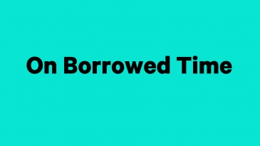 """show title """"On Borrowed Time"""" in black text on a blue background"""
