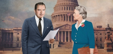 Conscience Artwork. McCarthy and Smith stand outside Capitol Building